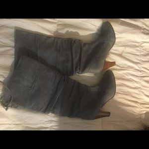 Real leather boots brand new sky blue